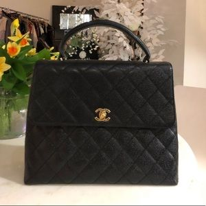 "Authentic CHANEL black caviar leather ""Kelly"" Bag"